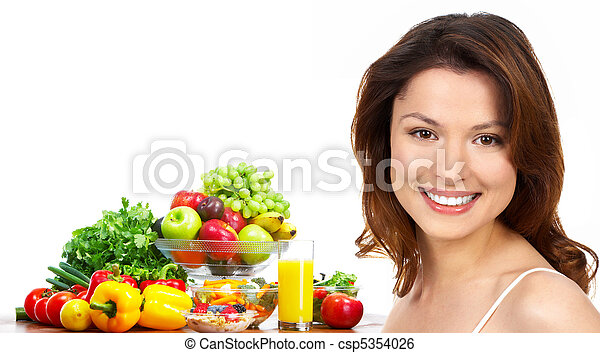 Woman, juice, vegetables and fruits - csp5354026