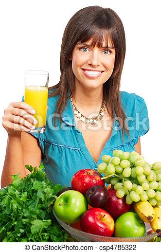 Woman, juice, vegetables and fruits - csp4785322