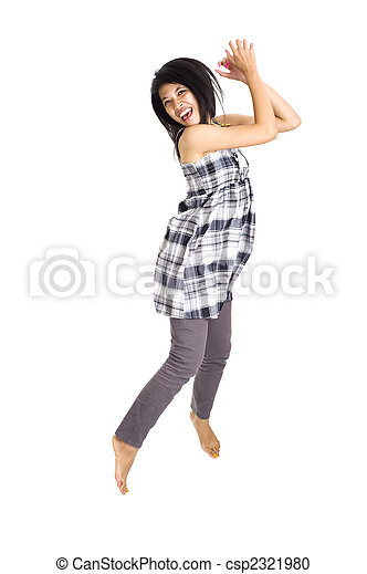 woman jumping for joy - csp2321980