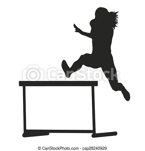 woman jumps over the hurdle steeplechase running woman vector rh canstockphoto com hurdle jumping clipart