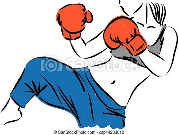 woman kickboxing vector illustration vector clip art search rh canstockphoto com vector manipulation vector manual
