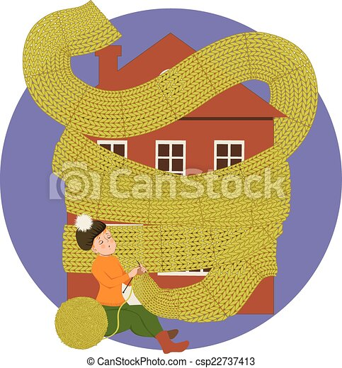 Woman knitting a scarf for a house - csp22737413