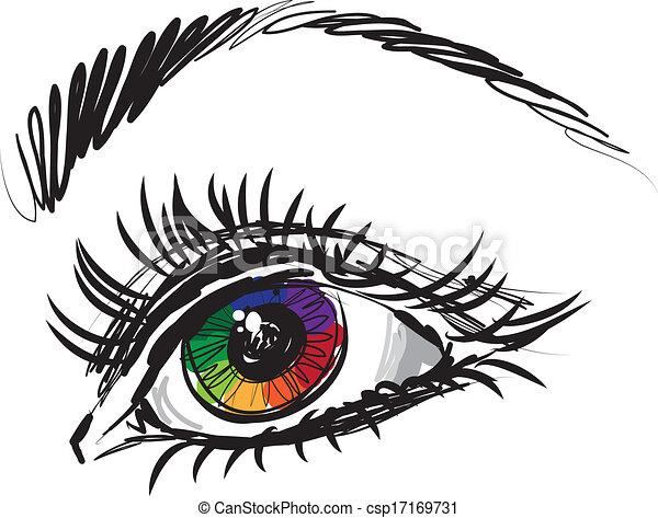 woman lady eye illustration - csp17169731