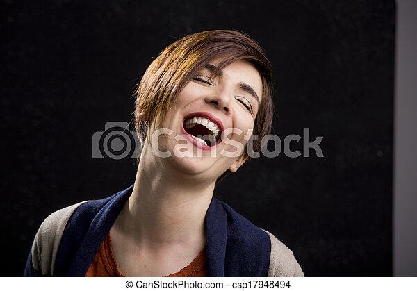 Woman laughing - csp17948494