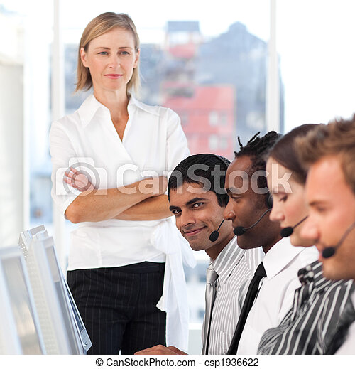 woman leading a business team - csp1936622