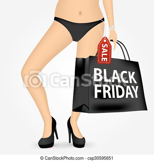 woman legs on high heels holding shopping bag - csp30595651