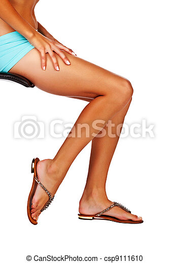 d6cd3b52ca5 Woman in gladiator sandals. Woman with long legs in black stockings ...
