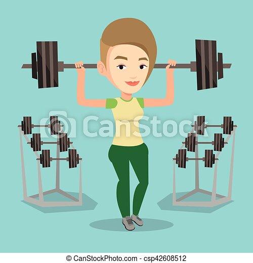 Woman lifting barbell vector illustration. - csp42608512