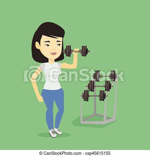 Woman lifting dumbbell vector illustration. - csp45615155