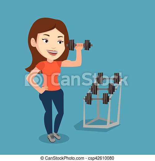 Woman lifting dumbbell vector illustration. - csp42610080