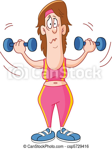 Woman lifting dumbbells - csp5729416