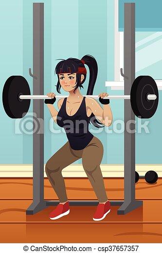 Woman Lifting Weight A Vector Illustration Of Woman Lifting