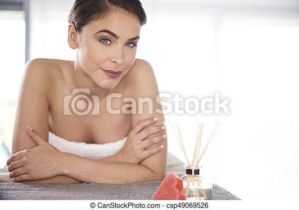 Woman looking at the camera - csp49069526