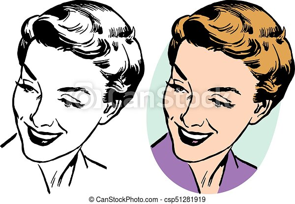 Line Drawing Face Woman : A smiling blonde woman looking down and over her shoulder vector