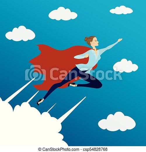 Woman looking like Super hero flying in sky, - csp54828768