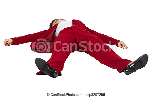 Woman lying unconscious on white background - csp3207256