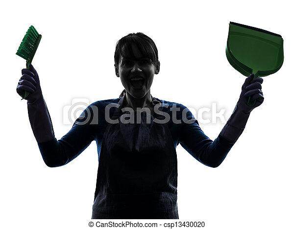 woman maid housework silhouette - csp13430020