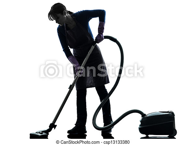 woman maid housework Vacuum Cleaner silhouette - csp13133380