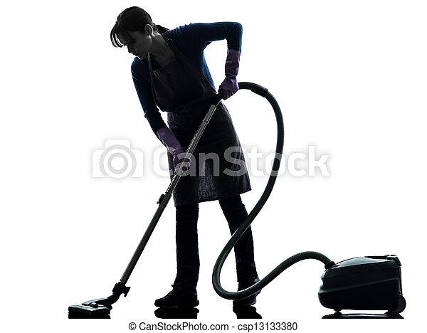 woman maid housework Vacuum Cleaner silhouette - csp13133380