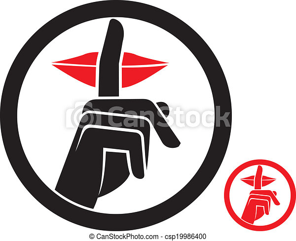 woman making silence sign - csp19986400
