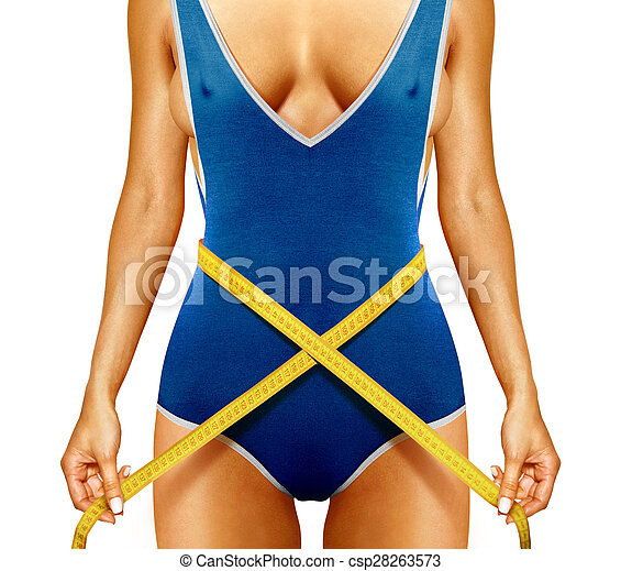 woman measuring beautiful shape - csp28263573