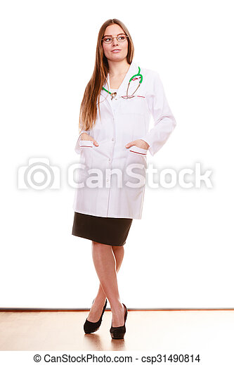 Woman medical doctor with stethoscope. Health care - csp31490814