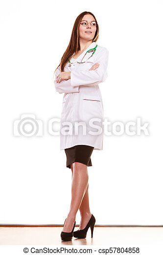 Woman medical doctor with stethoscope. Health care - csp57804858