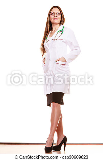 Woman medical doctor with stethoscope. Health care - csp30609623