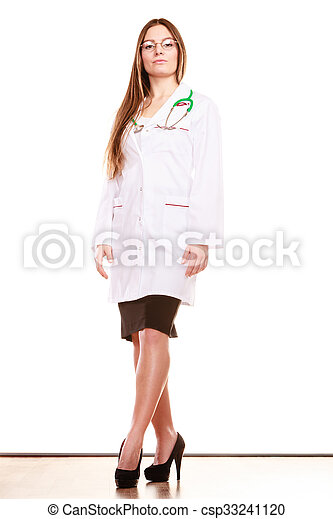 Woman medical doctor with stethoscope. Health care - csp33241120