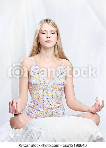 woman meditate at home - csp12198640