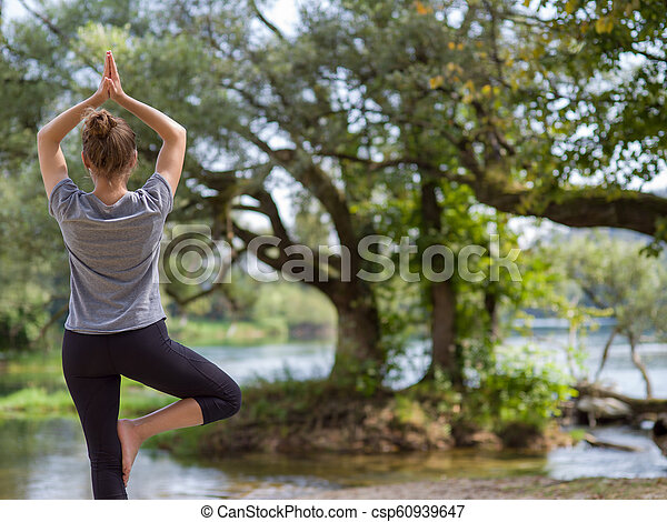 woman meditating and doing yoga exercise healthy woman