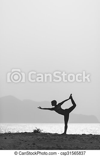 Woman Meditating In Yoga Pose Silhouette At The Ocean Beach And Mountains Motivation Inspirational Exercising Healthy Lifestyle Outdoors Nature
