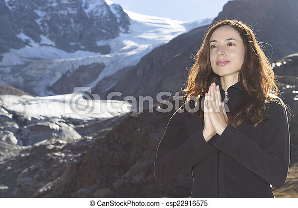 Woman Meditation In Nature On The Alps Young Beautiful Yogi Woman Meditating In Nature