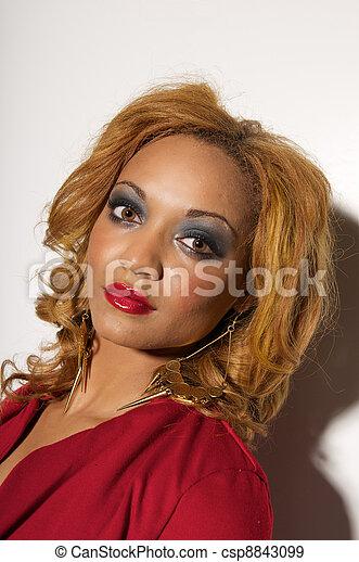 Woman Model Head Shot at studio photo shoot. - csp8843099