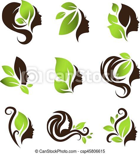 woman natural beauty hair spa salon logo design set woman natural