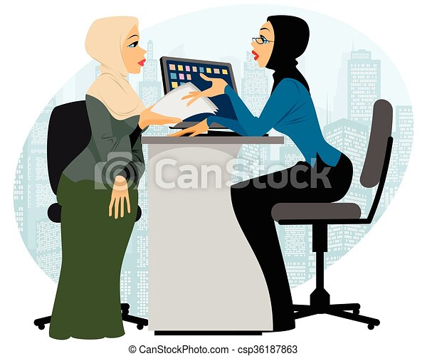 Woman offer contract - csp36187863