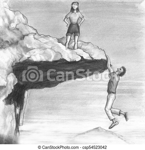 Woman On A Cliff With A Man Hanging From The Edge One Drawing