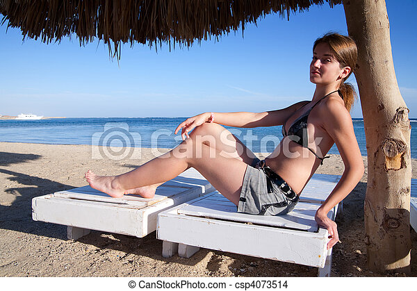 woman on a wooden deck - csp4073514