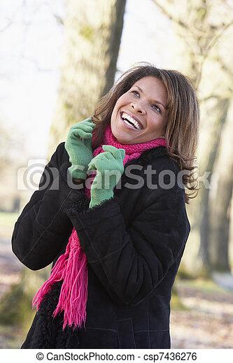 Woman On Autumn Walk - csp7436276