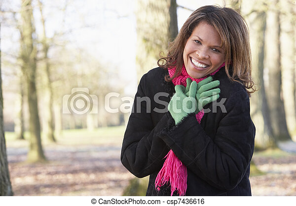 Woman On Autumn Walk - csp7436616