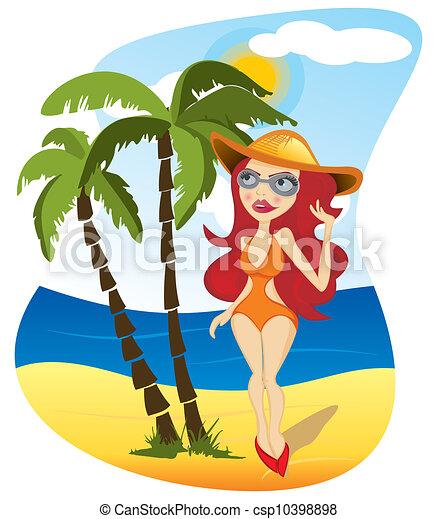 Woman on beach - csp10398898