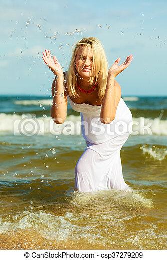 Woman on beach - csp37279209