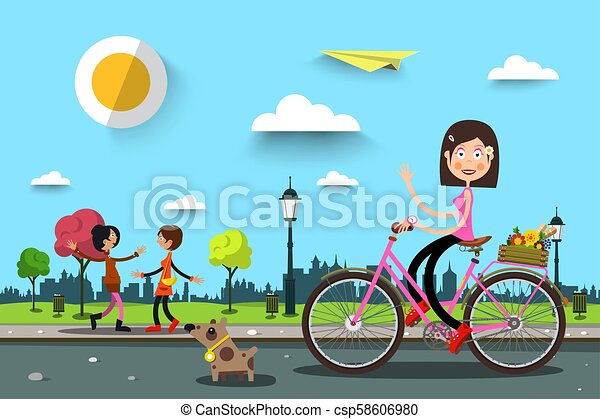 Woman on Bicycle in City Park with Women on Background. Vector Healthy Life in Spring Town. - csp58606980