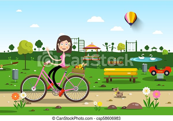 Woman on Bicycle in City Prak with Playground on Background - Vector - csp58606983