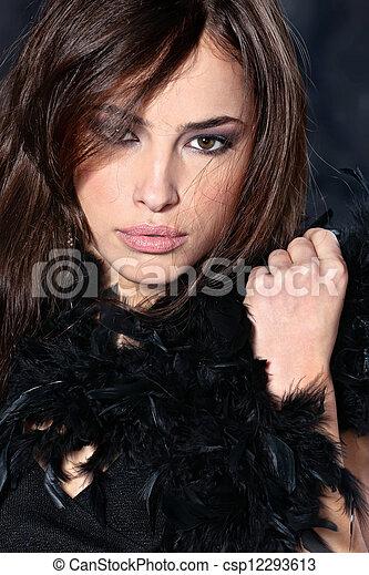 woman on black background - csp12293613