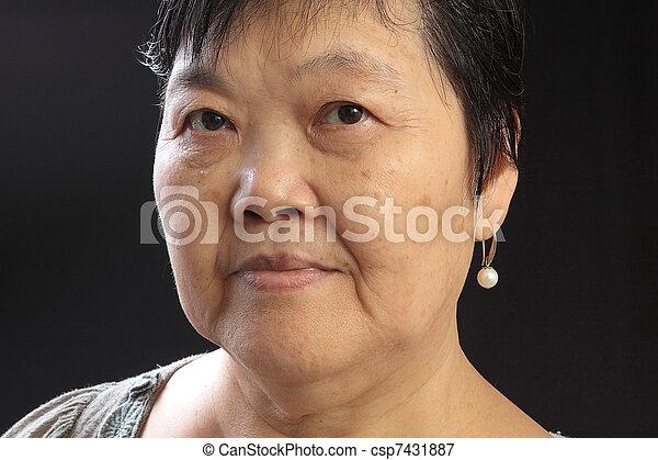 woman on black background - csp7431887