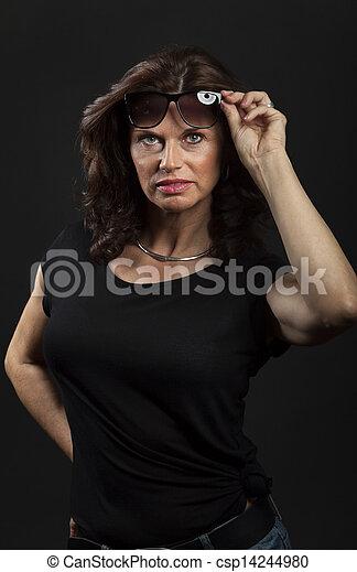 woman on black background - csp14244980