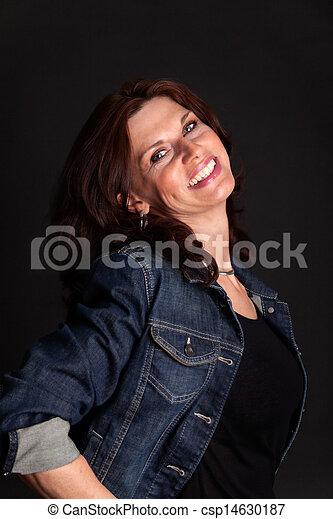 woman on black background - csp14630187