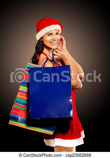 woman on black background - csp23062668