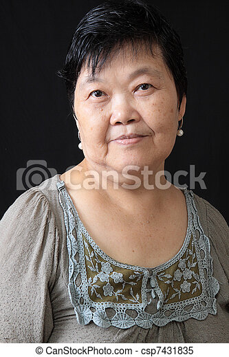 woman on black background - csp7431835